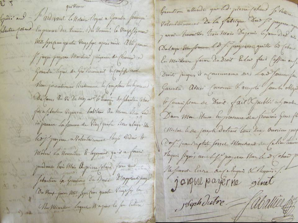 Quittance Contrat d'apprentissage 1786